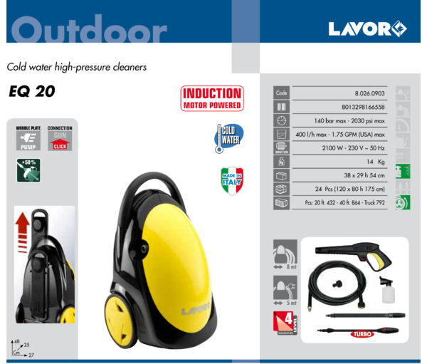 HIGH PRESSURE CLEANER LAVOR HOME USE EQ 20