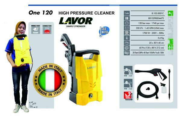 High Pressure Cleaner LAVOR One 120 Made in Italy