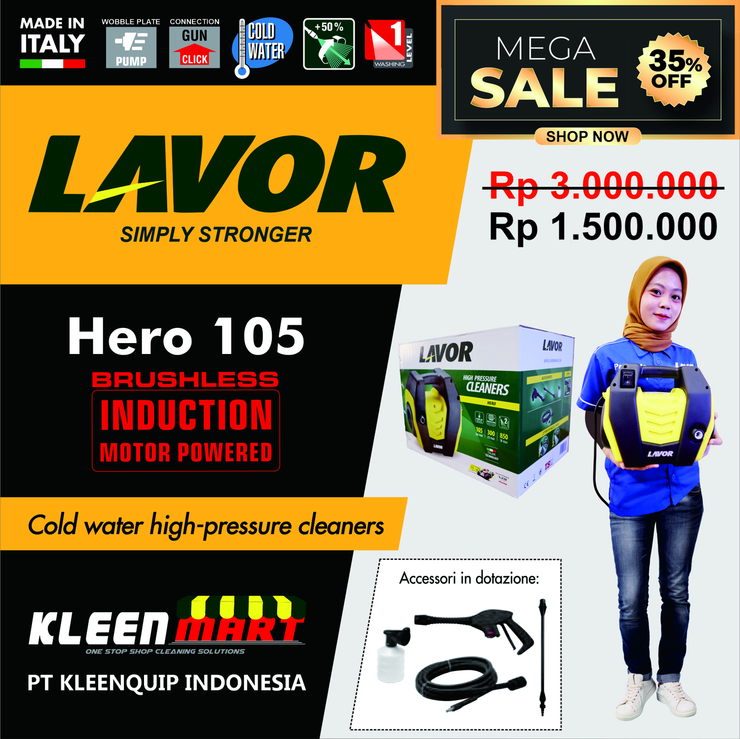 PROMO HIGH PRESSURE CLEANER HERO 105 - HIGH PRESSURE CLEANER LAVOR MADE IN ITALY