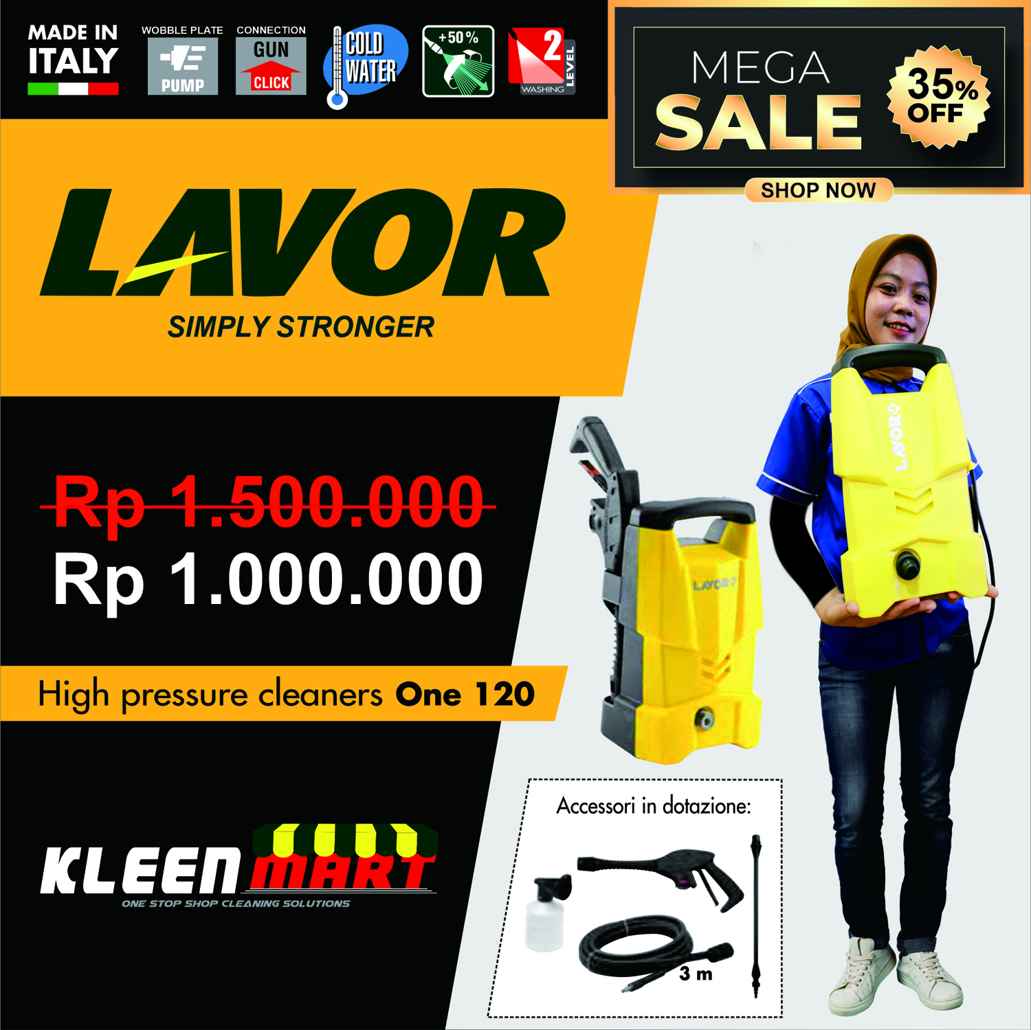 PROMO ONE 120 - HIGH PRESSURE CLEANER LAVOR MADE IN ITALY