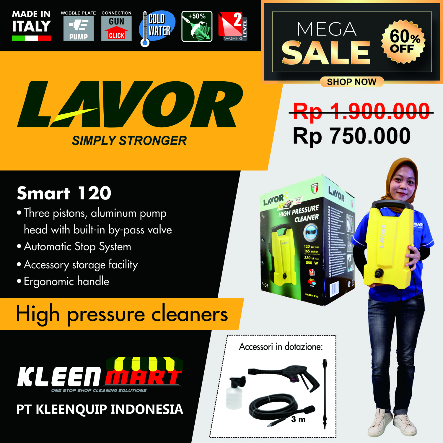 SMART 120 - HIGH PRESSURE CLEANER LAVOR MADE IN ITALY